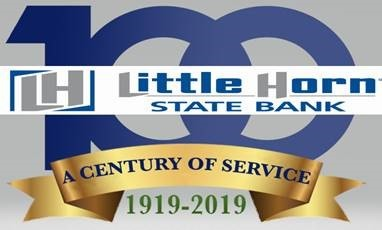 Little Horn State Bank 100 year banner.