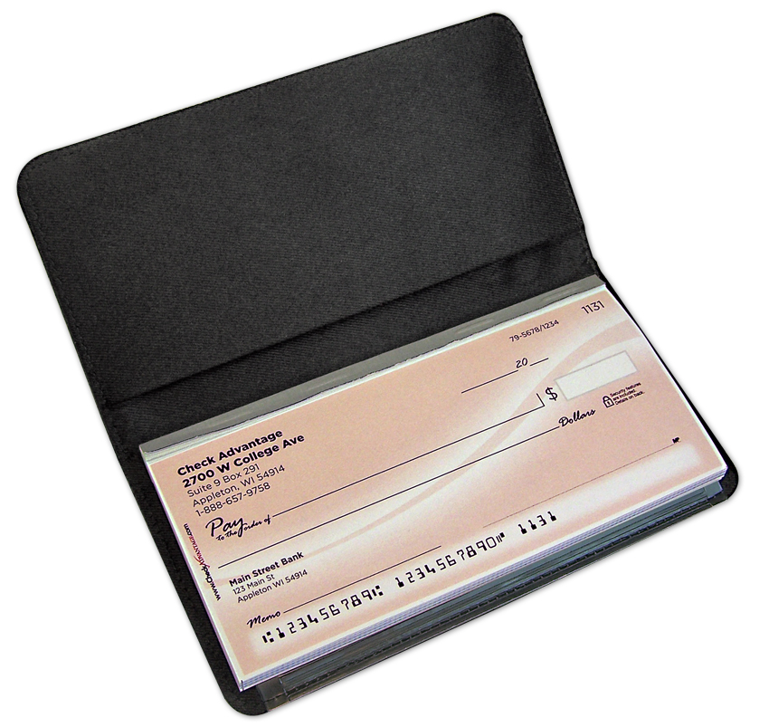 Image of an open checkbook.